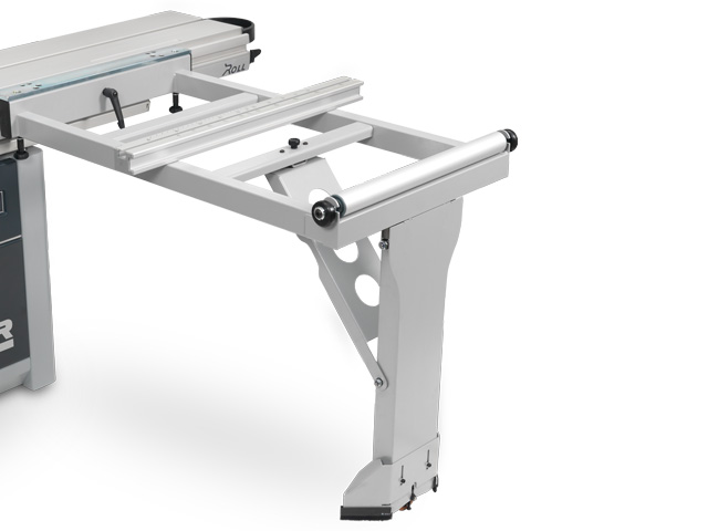 Outrigger table with floor support roller